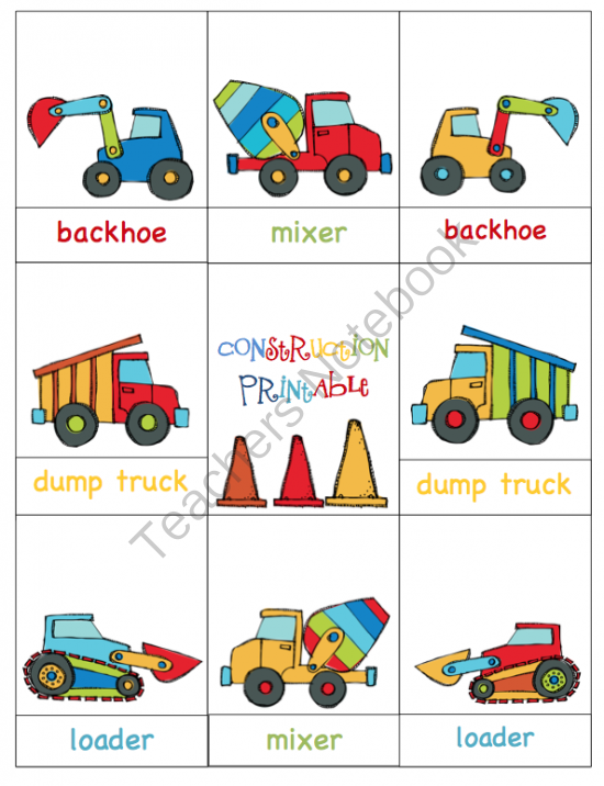 construction vehicles printable preschool printables. Black Bedroom Furniture Sets. Home Design Ideas