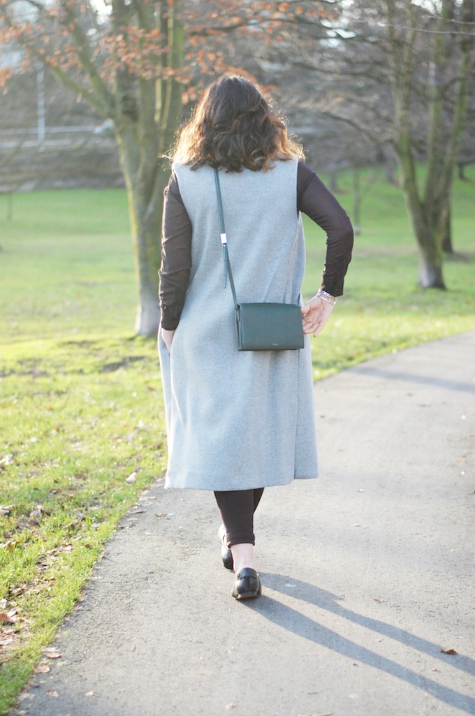 Long grey wool vest coat TOPSHOP
