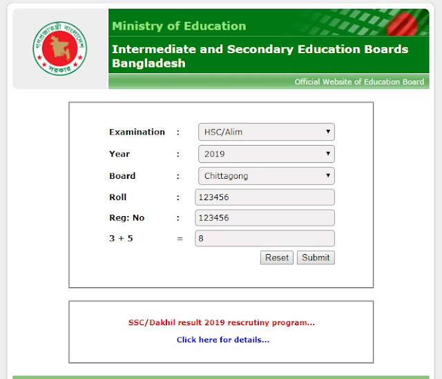 Chittagong board hsc result 2019