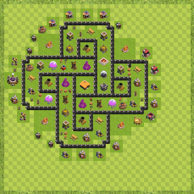 War Base Town Hall Level 8 By Mark Hamilton (test Layout)