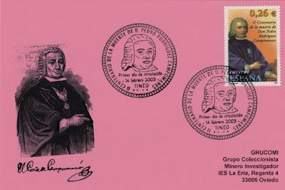 Tarjeta del PDC del sello del bicentenario del fallecimiento de Pedro Rodríguez Campomanes