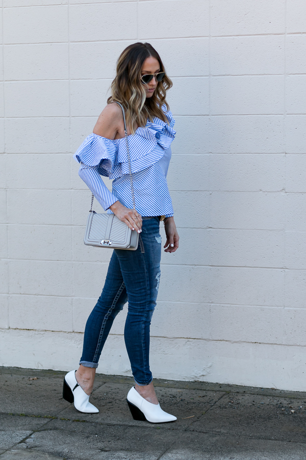 one shoulder ruffle blouse parlor girl