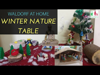 waldorf winter nature table kids at home