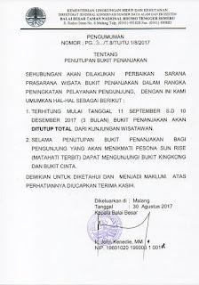 surat penutupan penanjakan Taman Nasional Bromo Tengger Semeru (TNBTS)