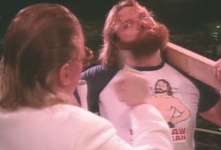 WWE/WWF SUMMERSLAM 1988 - Hacksaw Jim Duggan is not impressed with Brother Love