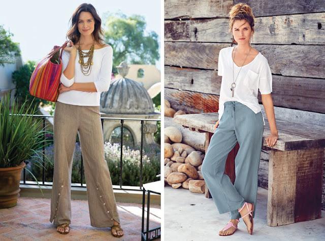 Девушки в брюках с минималистскими сандалиями