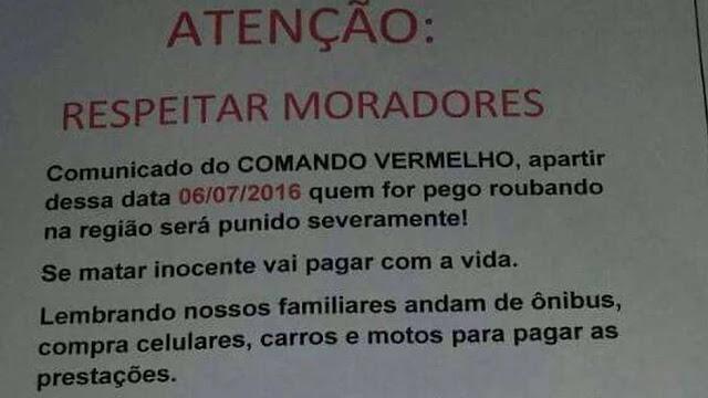 'Quem for pego roubando será punido severamente': o cartaz anticrime do criminoso Comando Vermelho