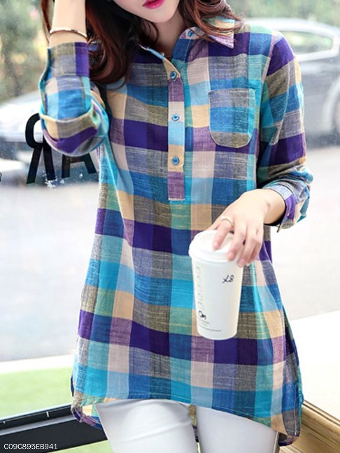 Autumn Spring Cotton Women Turn Down Collar Decorative Button Plaid Long Sleeve Blouses - FashionMia Special Price: US$15.95
