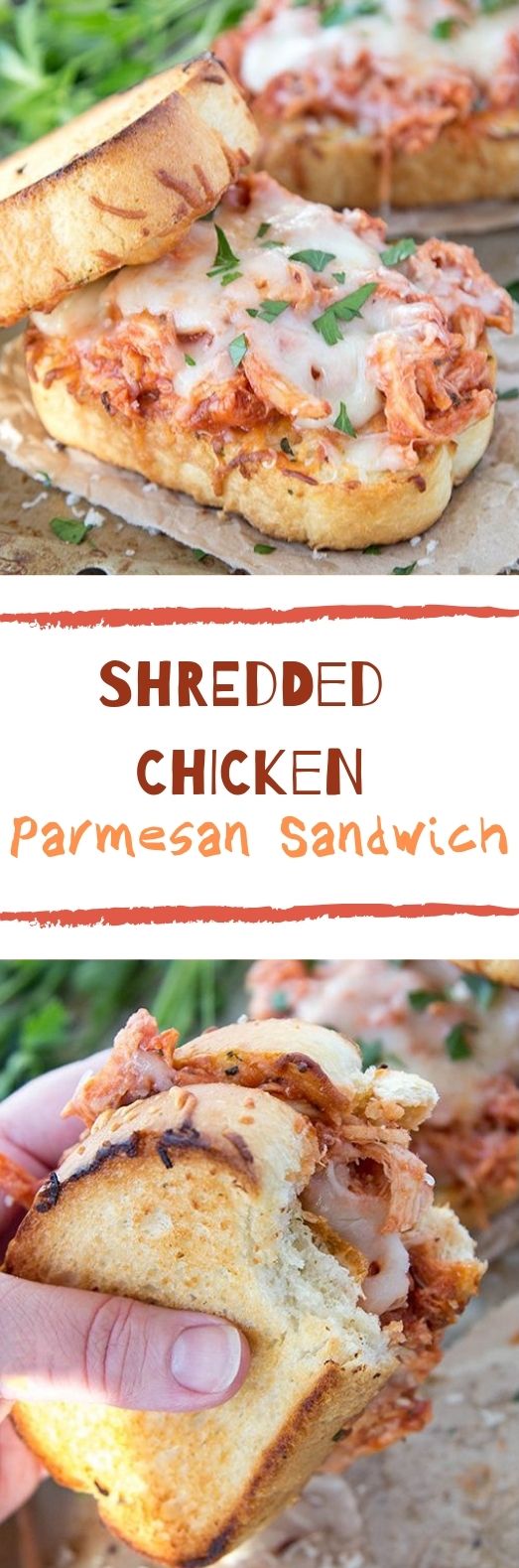 Shredded Chicken Parmesan Sandwich #chicken #dinner