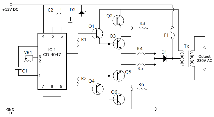 the circuit is composed of four areasan inverter to generate high
