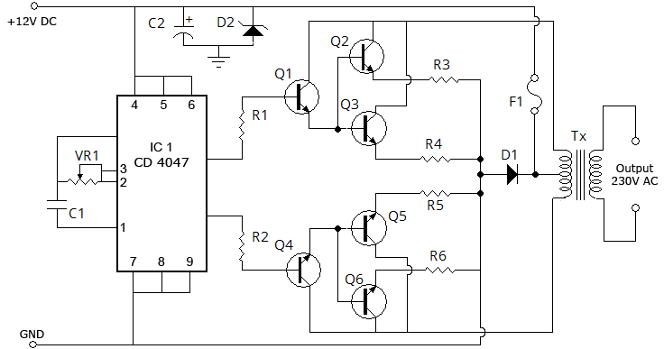 100 watt inverter circuit diagram