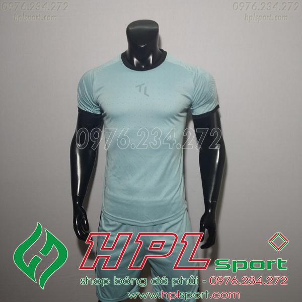Áo bóng đá không logo TL HML Ya màu xanh lơ