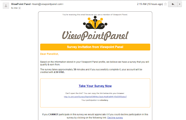 E-mail survey invitation | View point panel