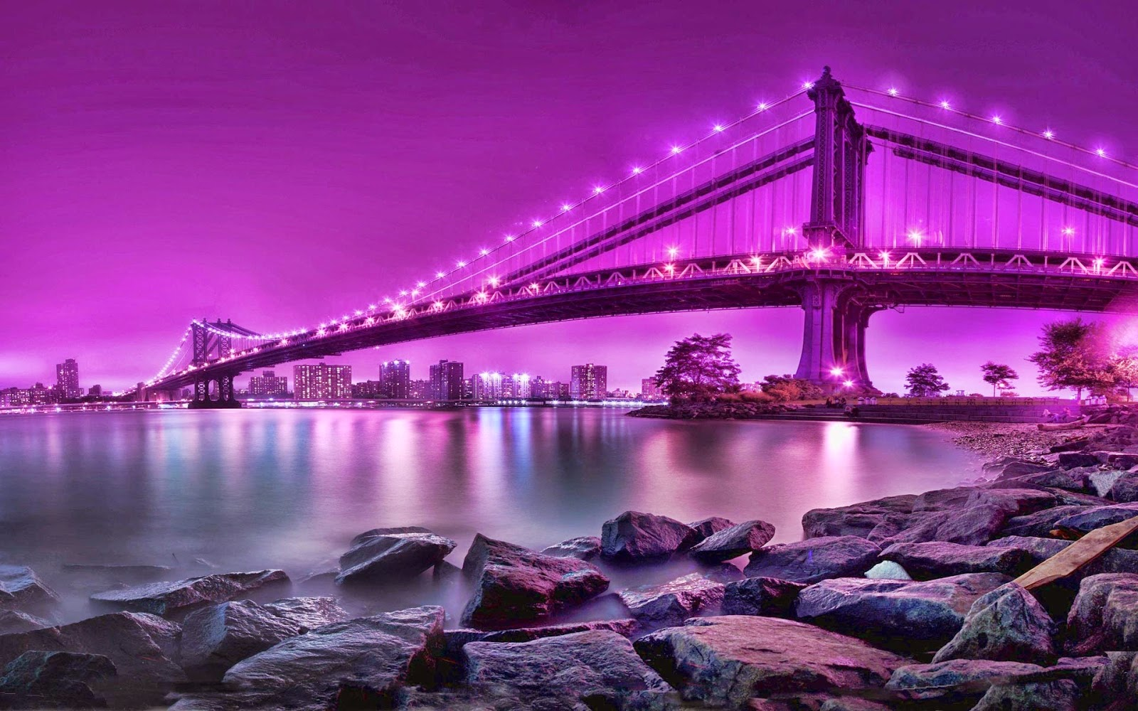 Beautiful Bridge Scene At Night 4u HD Wallpaper