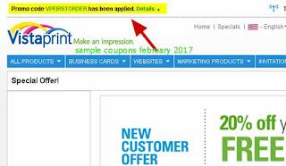 free Vistaprint coupons february 2017