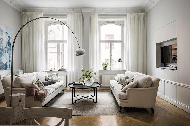 Amenajare în bej pentru un apartament din Suedia