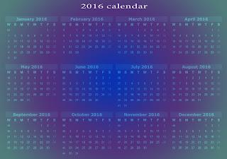 2016 kalendar