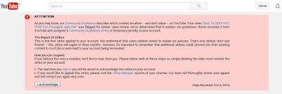 pelanggaran pedoman komunitas youtube