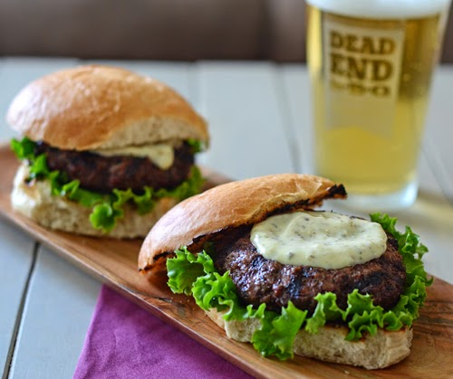 grilled burgers, green peppercorn and blue cheese sauce, steaks