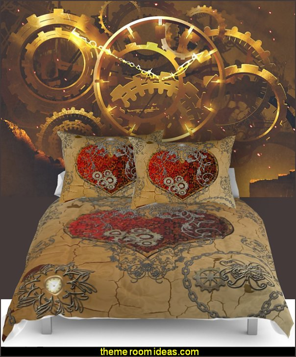steampunk bedding  Steampunk decorating ideas - Victorian Vintage antiques - steam punk Industrial style decorating ideas  - steampunk gears decor - Steampunk clothes - Steampunk Costumes -  Jules Verne  - Steampunk home decor - Steampunk lighting - Steampunk wall art - Victorian punk rock style creates the steampunk theme - Steampunk bedding - steampunk pillows