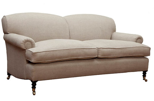 George Smith Standard Arm Signature Sofa In Cream Tweed Linen