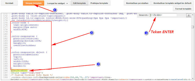 Masukkan kode script CSS