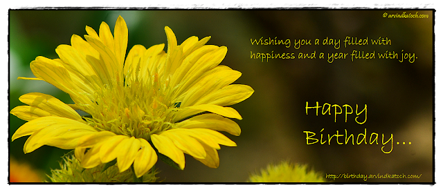 Beautiful, Yellow Flower, Birthday Card, happiness,