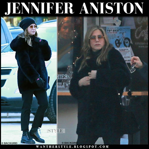 Jennifer Aniston in black fur coat, black pants and black prada combat boots winter celebrity style january 2019