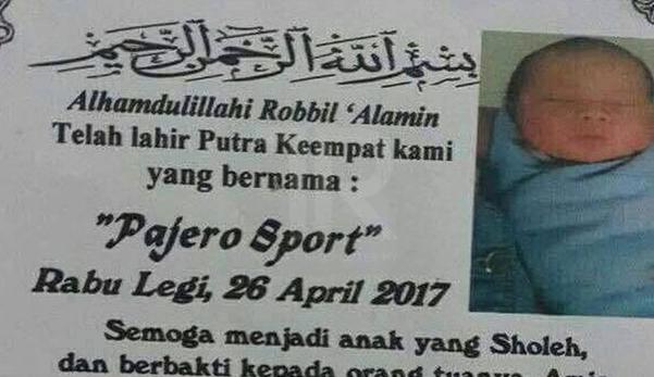Ibu bapa beri bayi nama Pajero Sport, jadi bualan hangat netizen