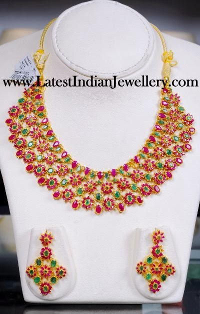 Ruby Emerald Bridal Necklace