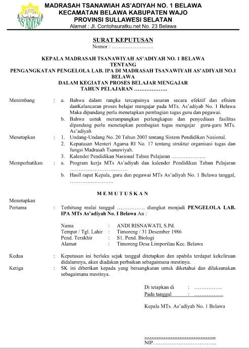 Contoh Format Surat Keputusan Pengangkatan Kepala Sekolah