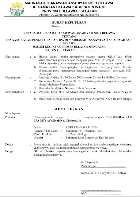 Contoh SK Pengangkatan Sebagai Kepala Lab. IPA Format Word Terbaru