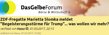 ZDF-Fregatte Marietta Slomka meldet Begeisterungsstürme für Trump