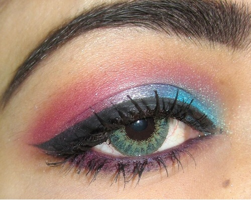 GEO Tri color contact lenses and eyemakeup