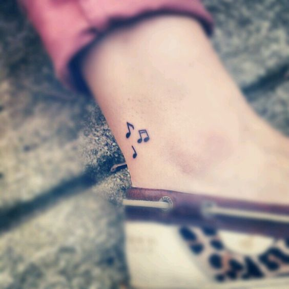 Beautiful Music Note Tattoos on Heels