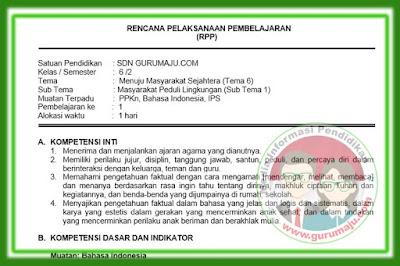 RPP Kelas 6 Tema 6 Kurikulum 2013 Revisi 2018