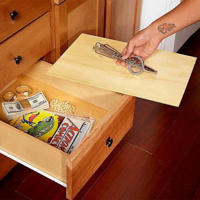 Lugares para esconder el dinero en casa. Cajón de doble fondo para esconder cosas en casa