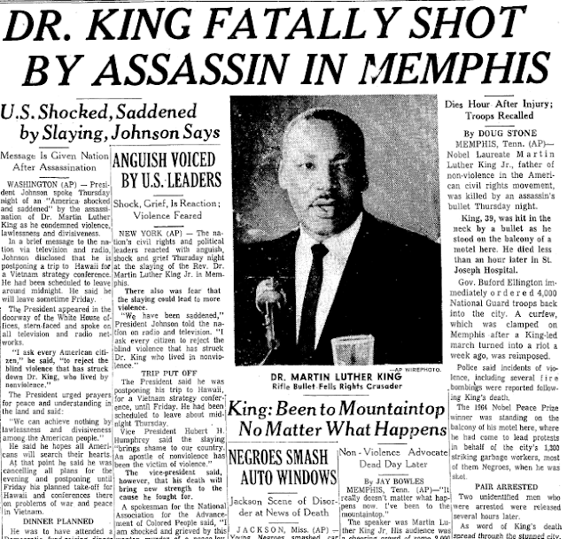 Martin Luther King Jr. was shot and killed by James Earl Ray on April 4, 1968.