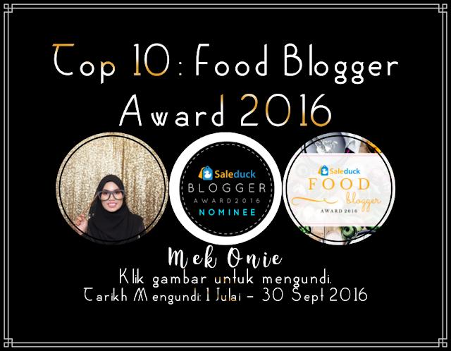 Tercalon Dalam  Top 10: Food Blogger Award 2016  Di Malaysia