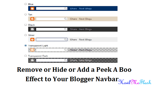 Remove or Hide or Add a Peek A Boo Effect to Your Blogger Navbar