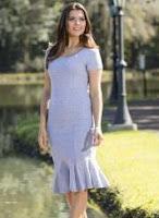 Vestido Cinza Babado na Barra Moda Evangélica
