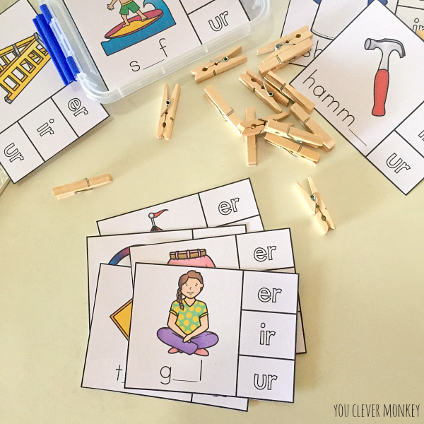 Printable Digraph Activities Controlled 'R' sounds er/ir/ur | you clever monkey