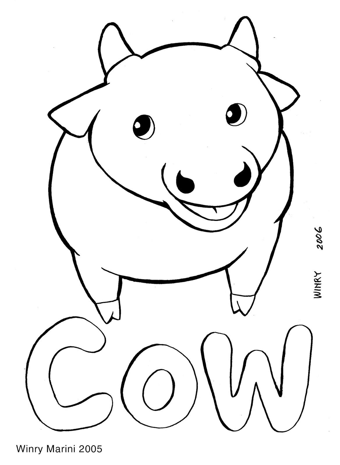 Cow Coloring Page Mewarnai Sapi