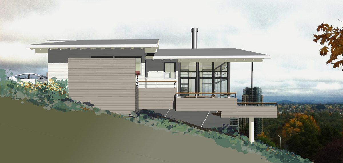 Mcm design modern house plan 2 exteriors for Side view house plans