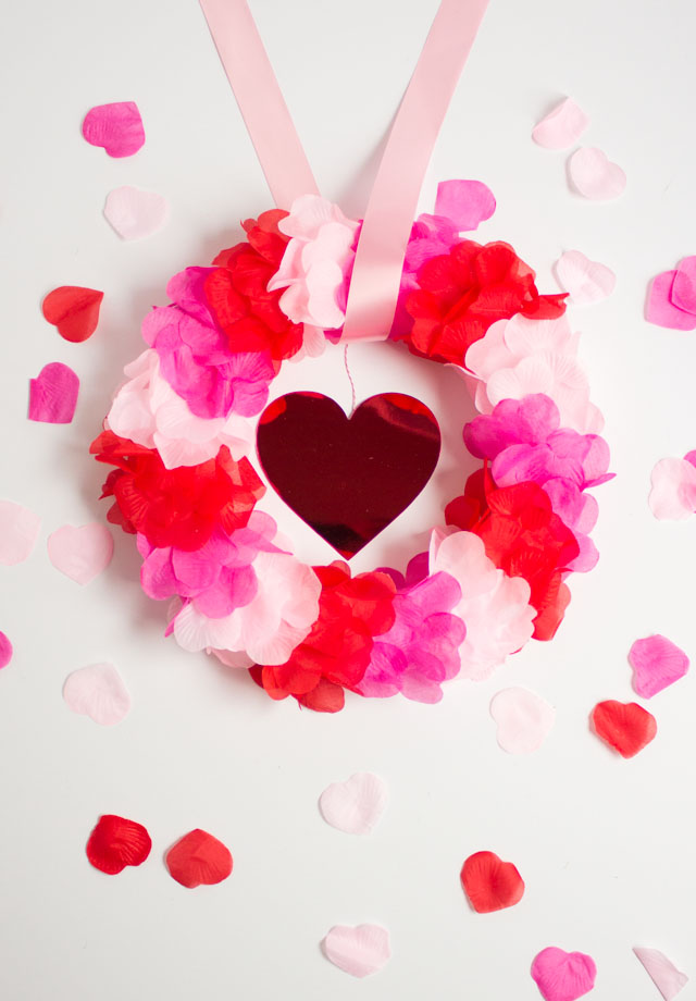DIY Faux Rose Petal Wreath - so pretty for Valentine's Day!