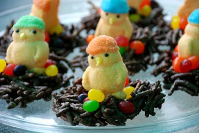chocolate bird nest with jelly beans peeps