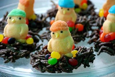 chocolate bird nest with jelly beans peeps