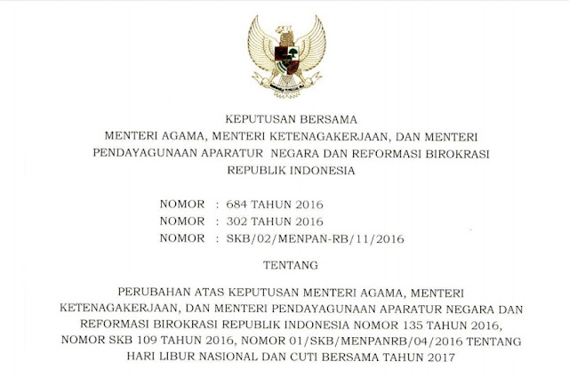Perubahan SKB 3 Menteri tambahan hari libur nasional dan cuti bersama tahun 2017.