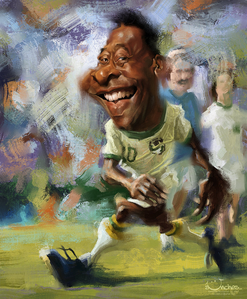 """Caricatura de """"Pelé"""" por Alexander Novoseltev"""