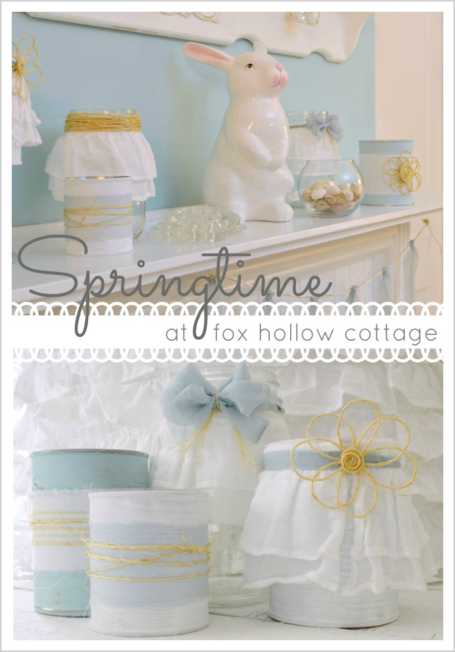 spring, twine, bunnies, blues, mantel